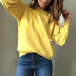 Vintage wide fit yellow striped sweatshirt